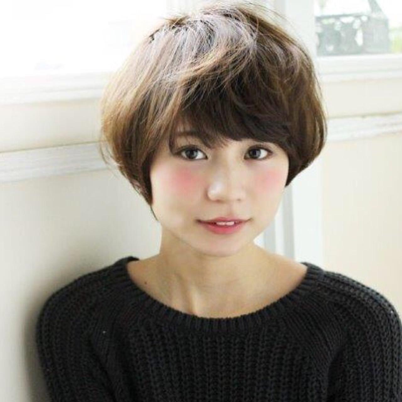 ブラウン ショート ショートボブ 外国人風 ヘアスタイルや髪型の写真・画像