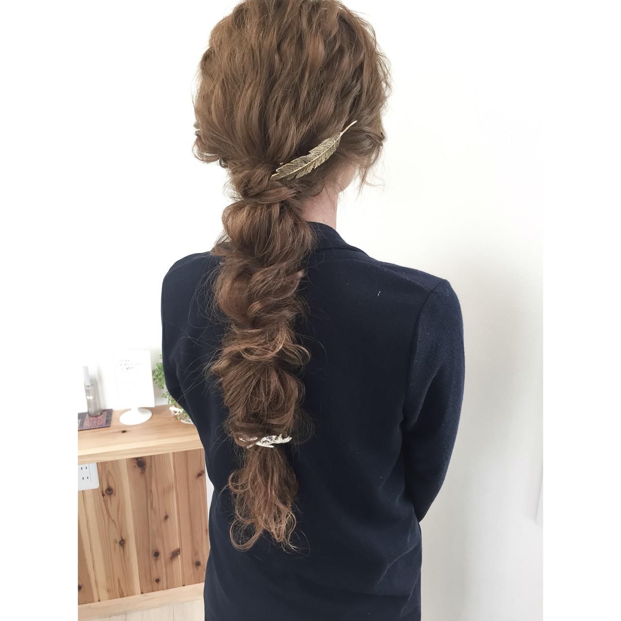 編み込み ショート ロング くるりんぱ ヘアスタイルや髪型の写真・画像
