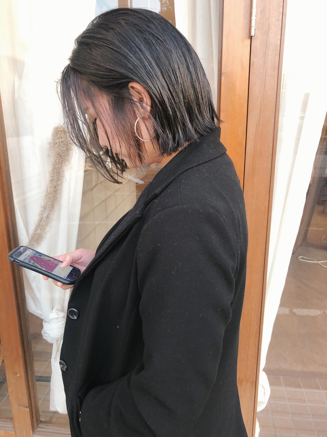 ショートボブ ナチュラル ボブ 切りっぱなしボブ ヘアスタイルや髪型の写真・画像 | 原木翔太 / lufun hair design  ルファン