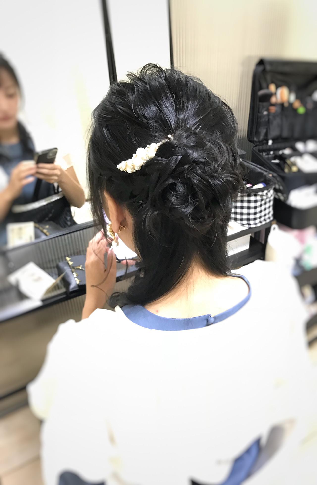 ヘアアレンジ 結婚式 セミロング 編み込みヘア ヘアスタイルや髪型の写真・画像
