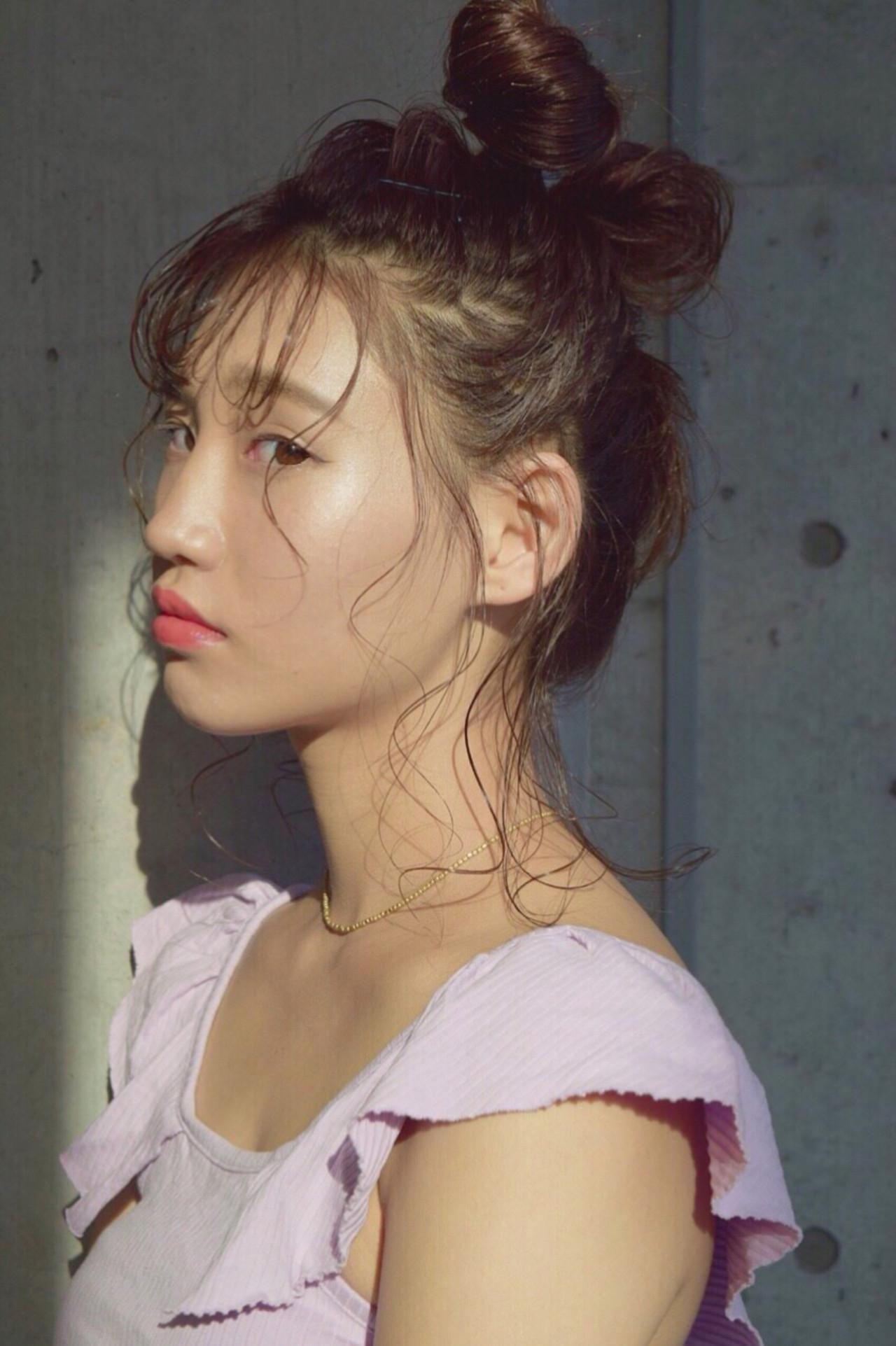 ミディアム 夏 リラックス ヘアアレンジ ヘアスタイルや髪型の写真・画像