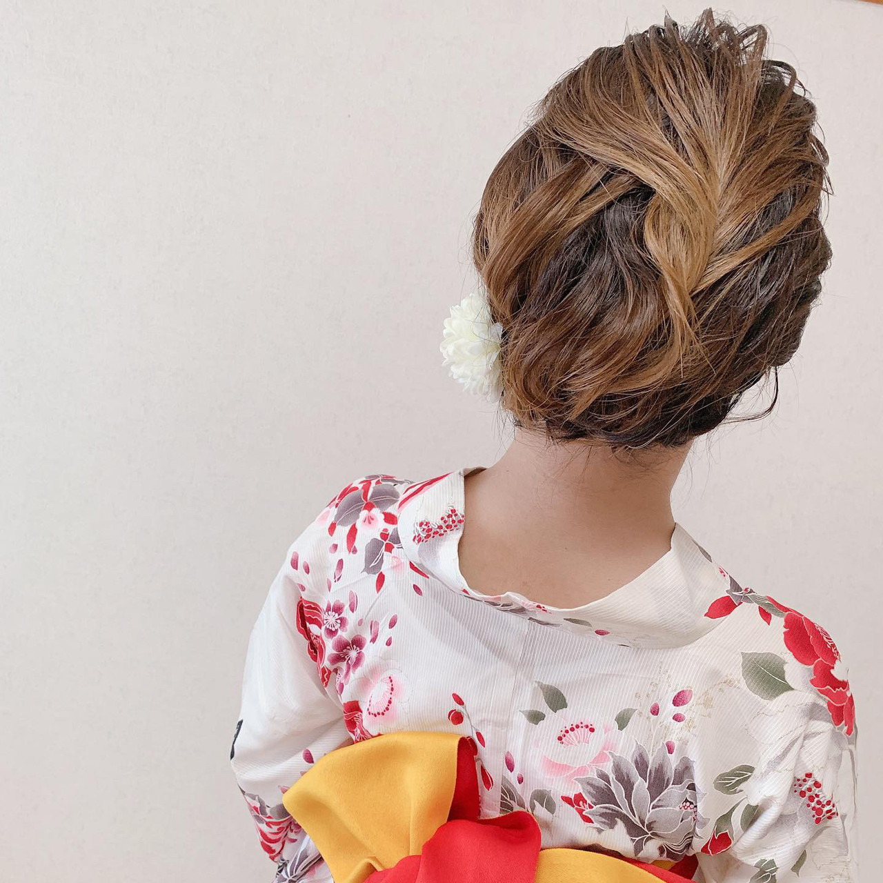 アップスタイル 浴衣ヘア エレガント ヘアアレンジ ヘアスタイルや髪型の写真・画像