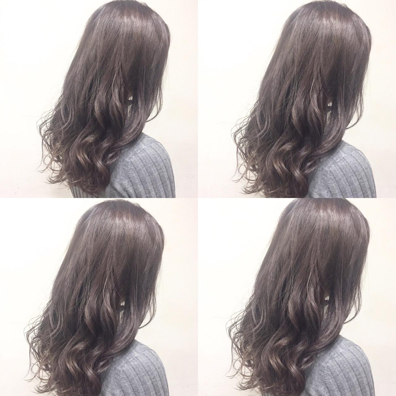 グラデーションカラー アッシュ ハイライト ミディアム ヘアスタイルや髪型の写真・画像