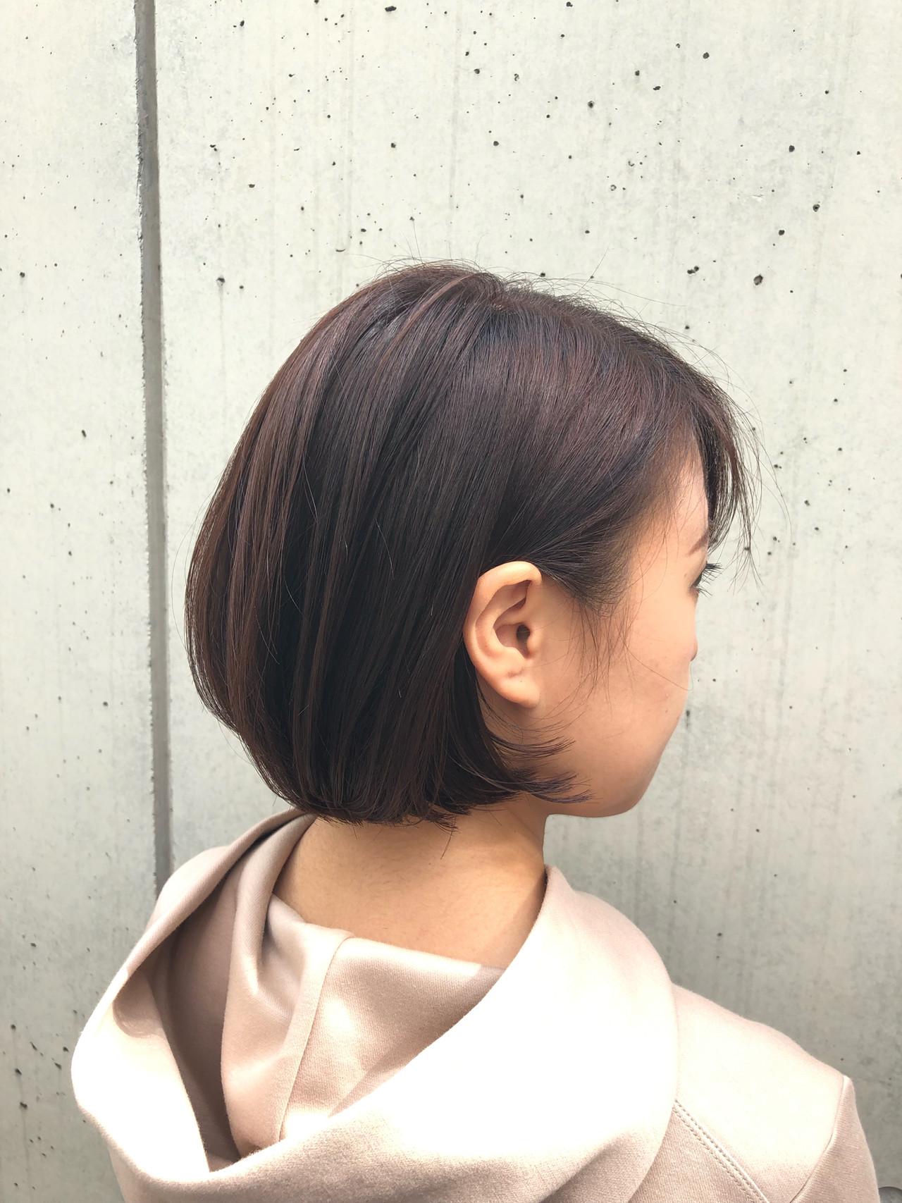 ショートヘア ナチュラル ボブ 切りっぱなしボブ ヘアスタイルや髪型の写真・画像   安井拓磨 / piece201