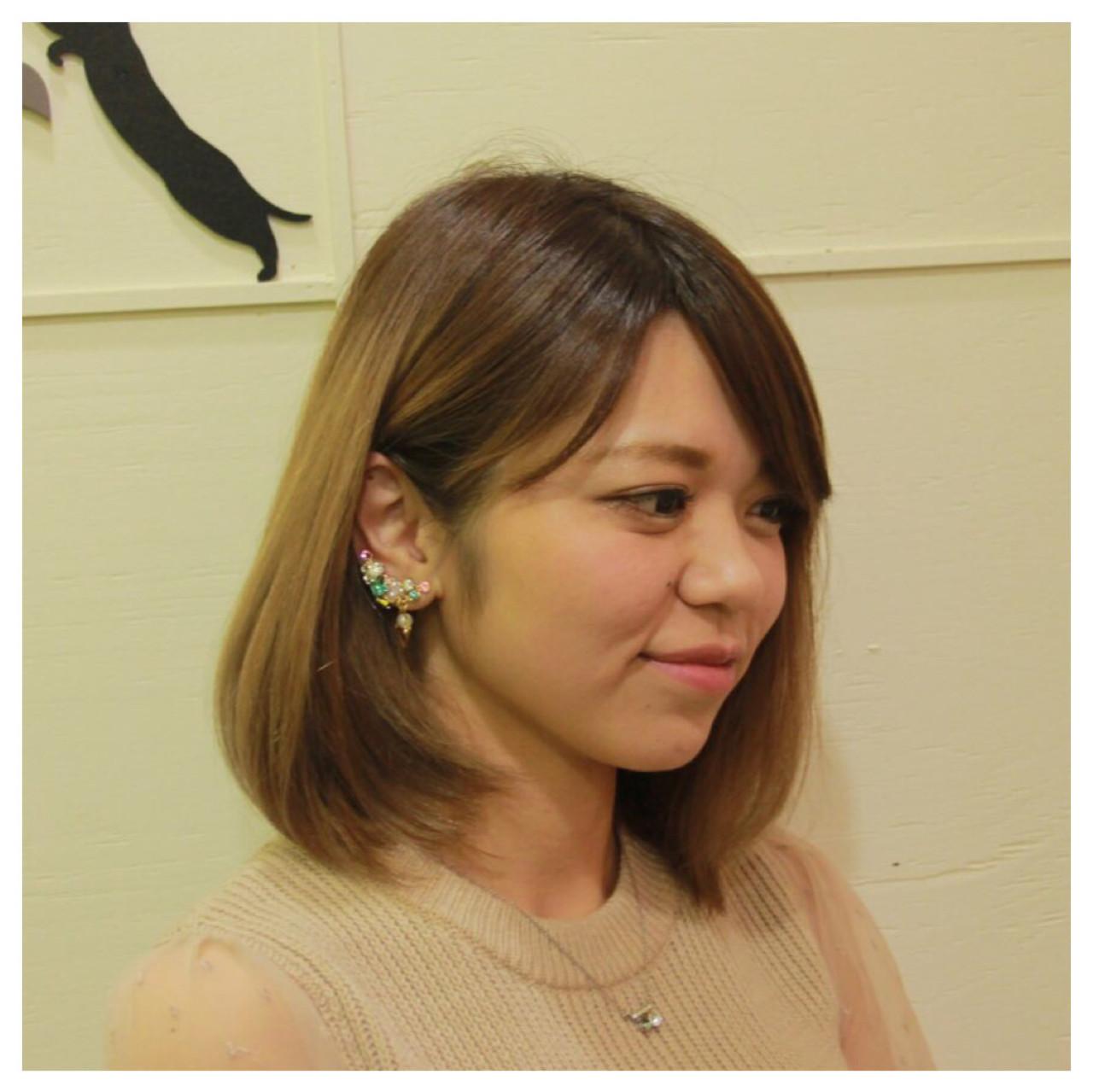 透明感 ロブ グラデーションカラー グレージュ ヘアスタイルや髪型の写真・画像