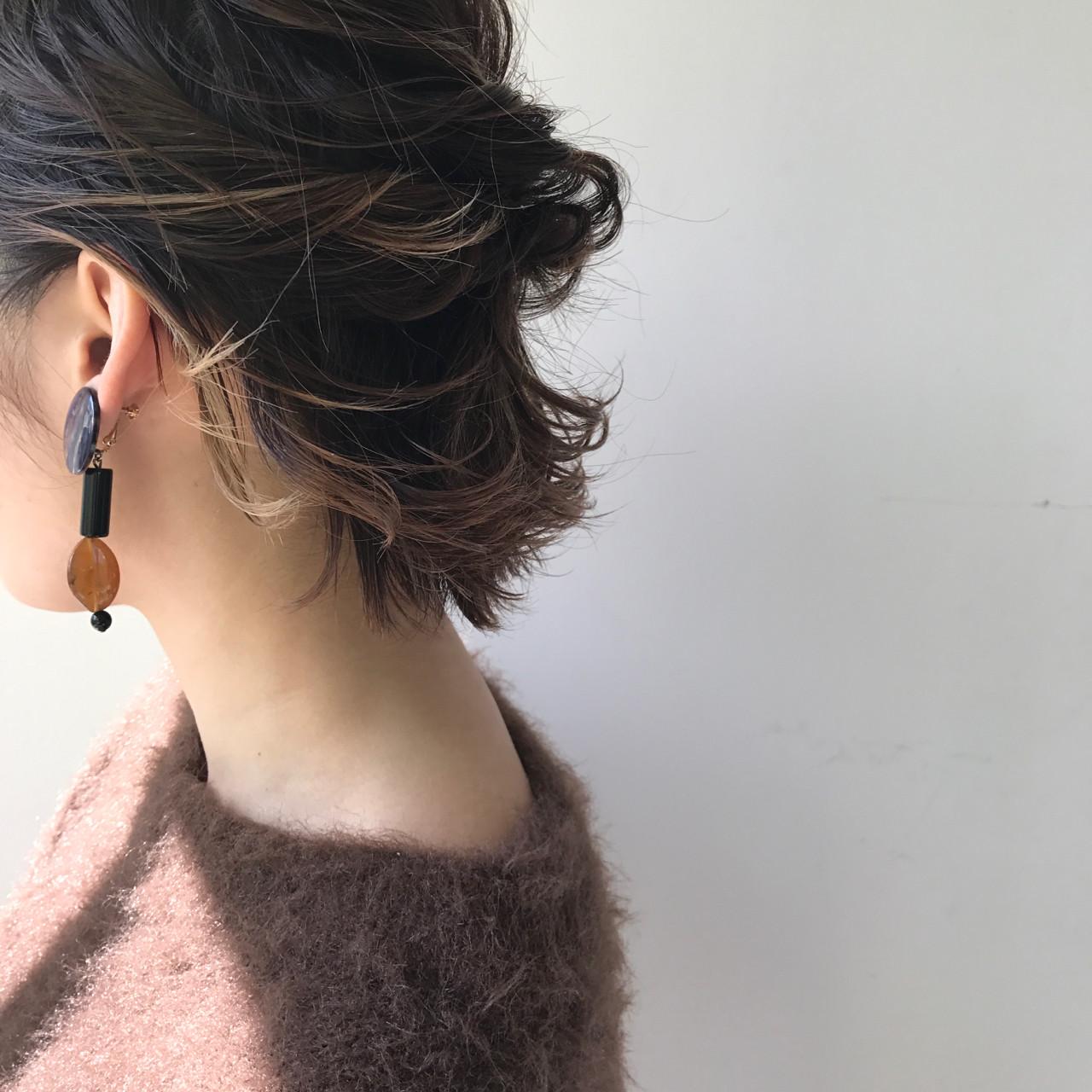フリンジバング ナチュラル ボブ ハーフアップ ヘアスタイルや髪型の写真・画像 | 佐々木拓巳 / GARDEN harajuku