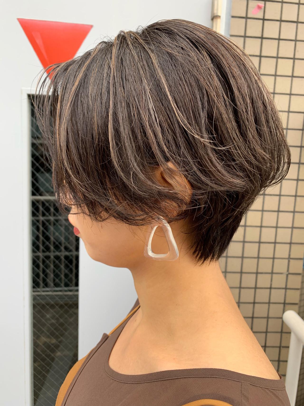 ナチュラル コントラストハイライト ショートボブ ショート ヘアスタイルや髪型の写真・画像 | miya/@1031miya / フリーランス(XENA)