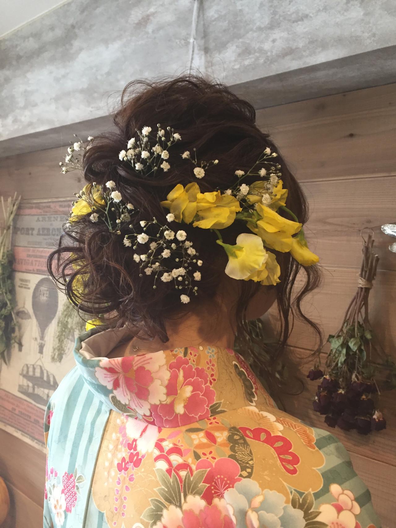 ヘアアレンジ セミロング 結婚式 ブライダル ヘアスタイルや髪型の写真・画像