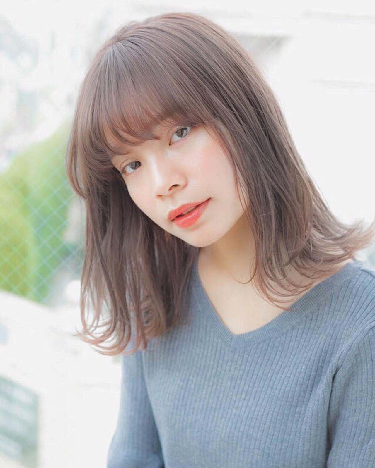 ミディアム 前髪 アンニュイほつれヘア パーマ ヘアスタイルや髪型の写真・画像
