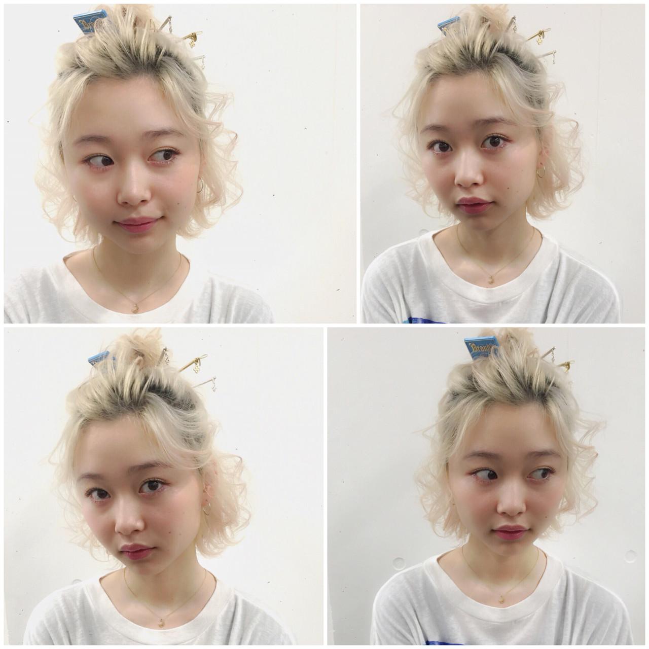 外国人風 ボブ ショート ハーフアップ ヘアスタイルや髪型の写真・画像 | MOTAI / Wille / Wille