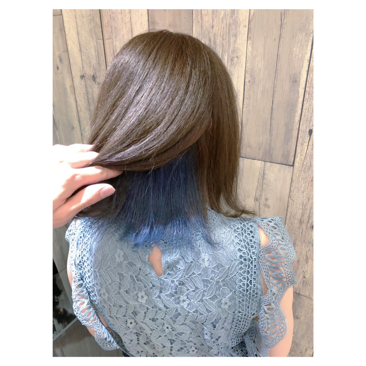 ボブ ブルージュ フェミニン インナーブルー ヘアスタイルや髪型の写真・画像 | クラ / TOMCAT