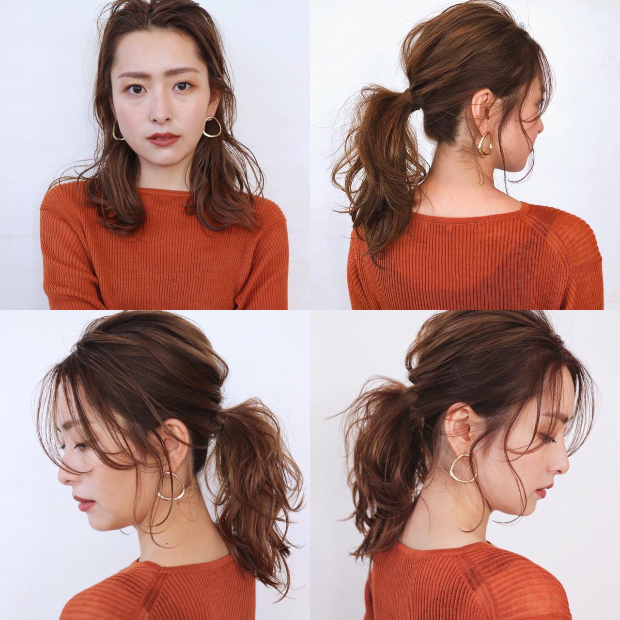 ポニーテールアレンジ 簡単ヘアアレンジ ポニーテール セミロング ヘアスタイルや髪型の写真・画像