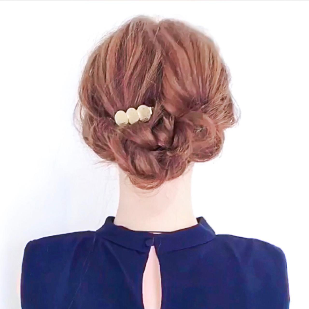 フェミニン アップスタイル 結婚式 簡単ヘアアレンジ ヘアスタイルや髪型の写真・画像