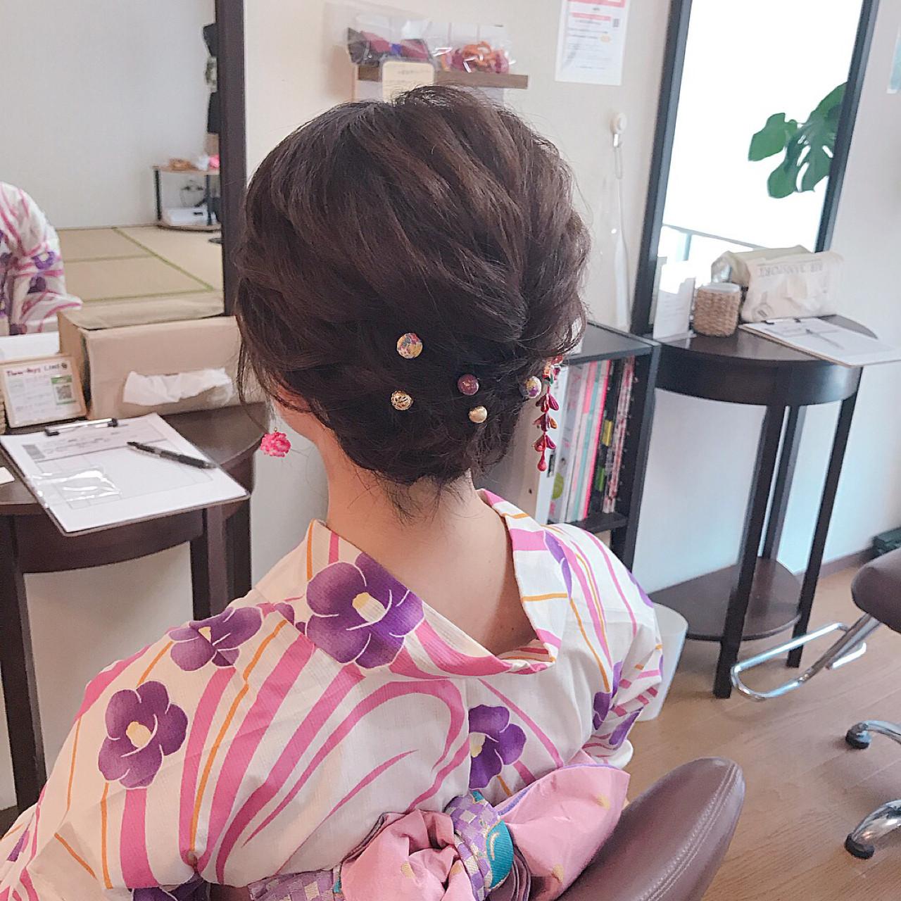 ガーリー 和装 夏 涼しげ ヘアスタイルや髪型の写真・画像   Moriyama Mami / 福岡天神ヘアセット・着付け専門店【Three-keys】