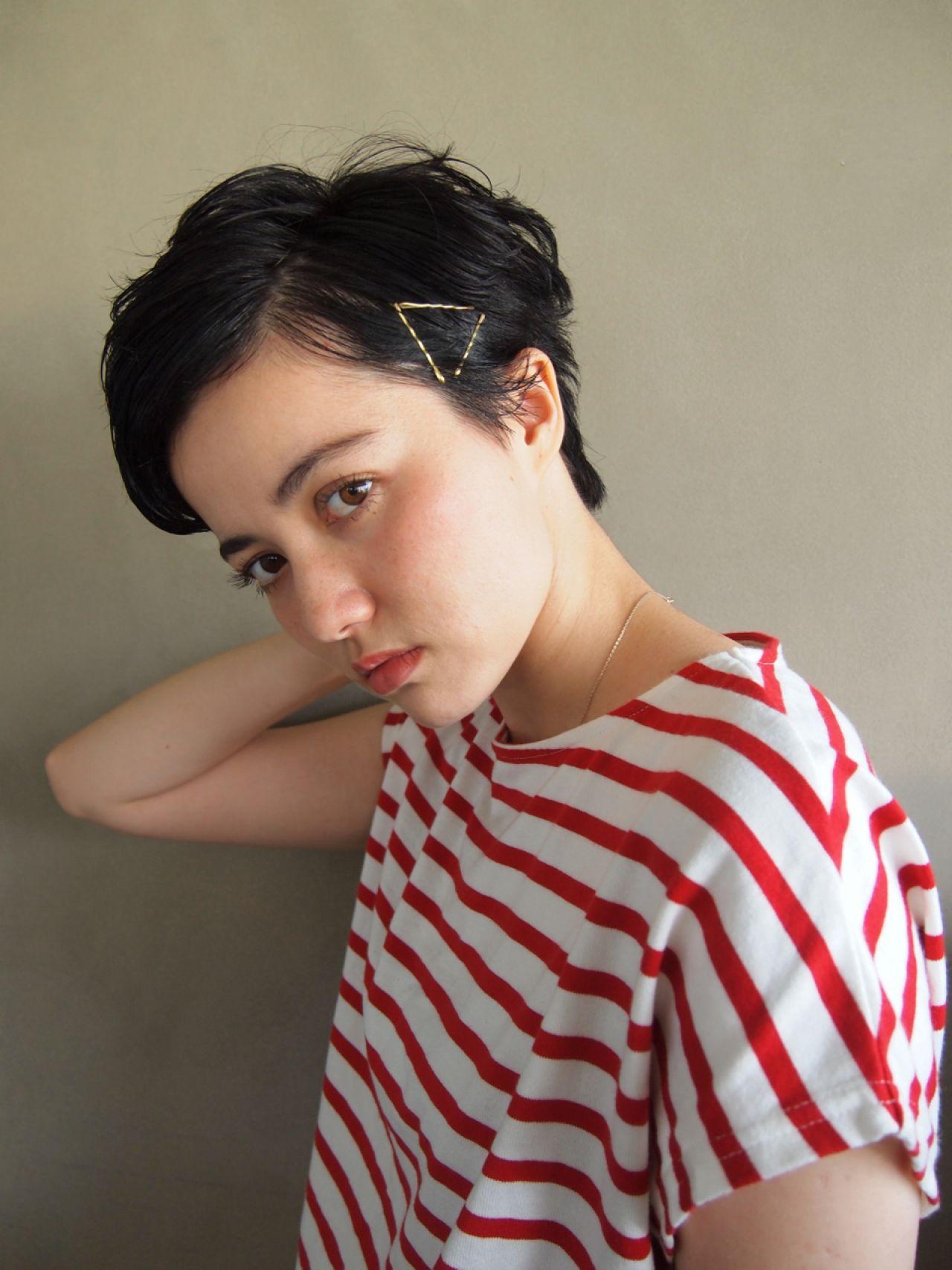 ナチュラル 黒髪 ショート ヘアアレンジ ヘアスタイルや髪型の写真・画像