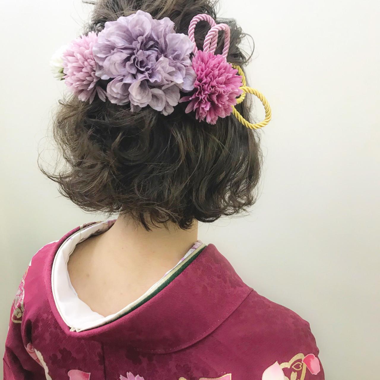 ヘアアレンジ 成人式 ナチュラル ボブ ヘアスタイルや髪型の写真・画像
