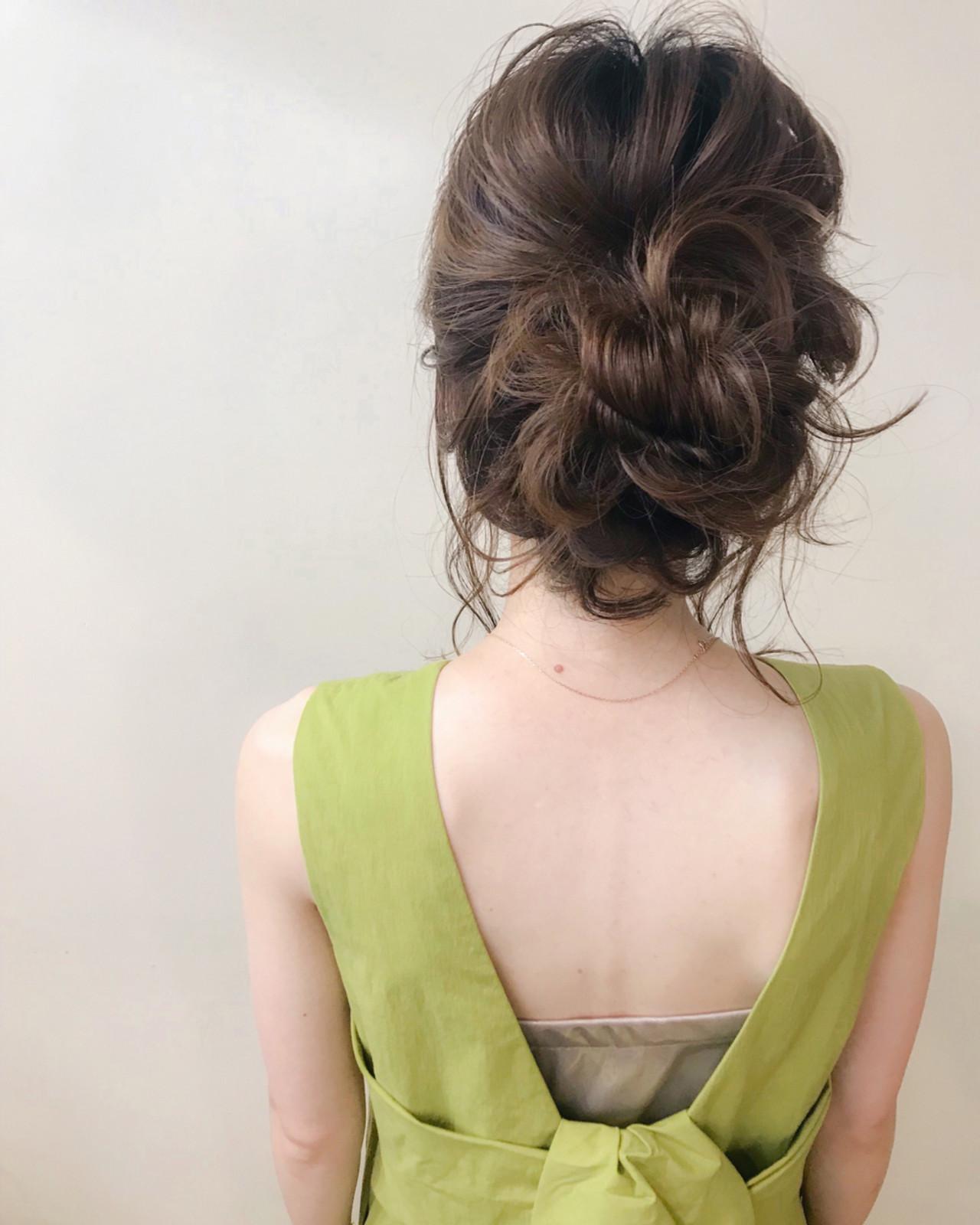 セミロング 夏 大人かわいい パーティ ヘアスタイルや髪型の写真・画像