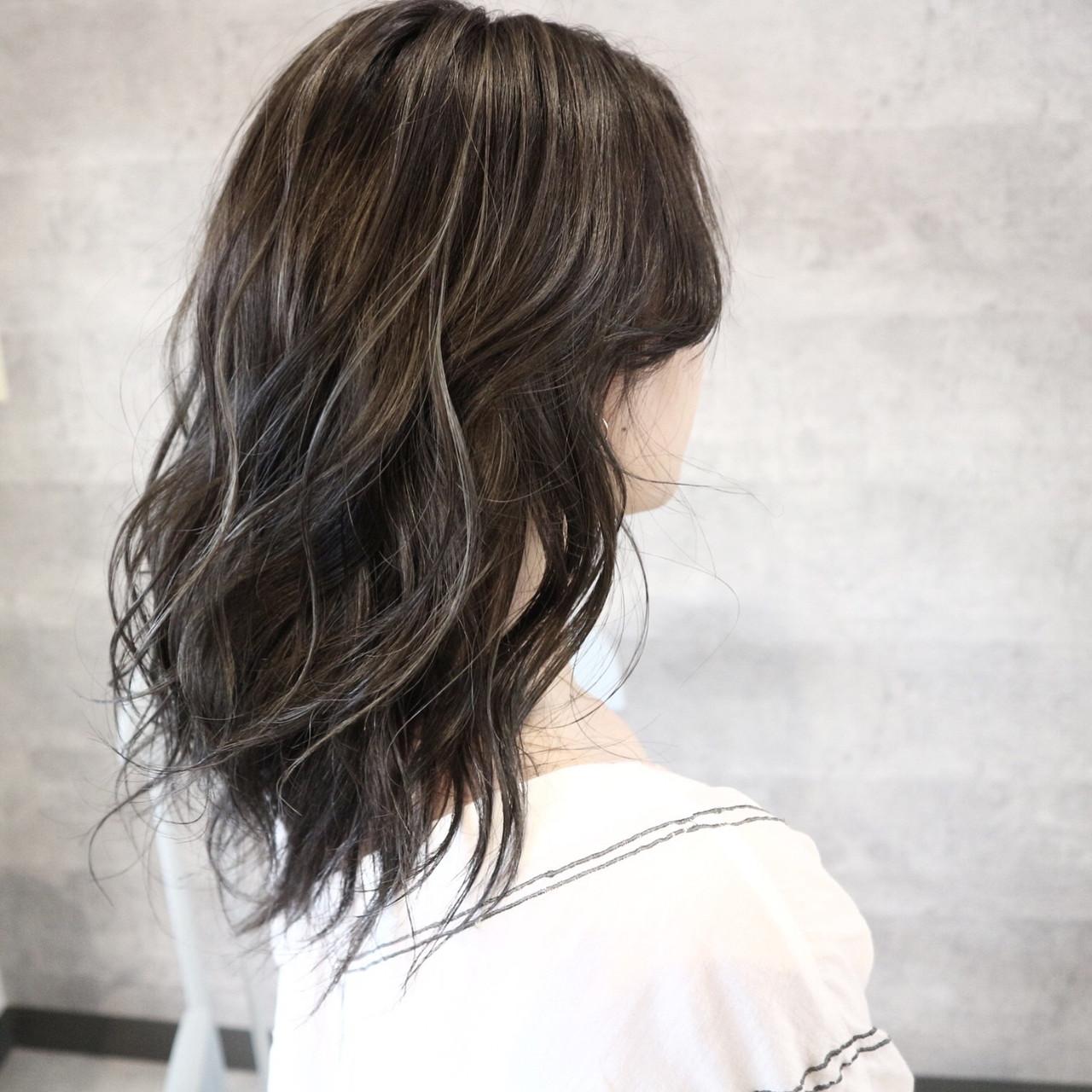 セミロング ハイライト 外国人風 外国人風カラー ヘアスタイルや髪型の写真・画像