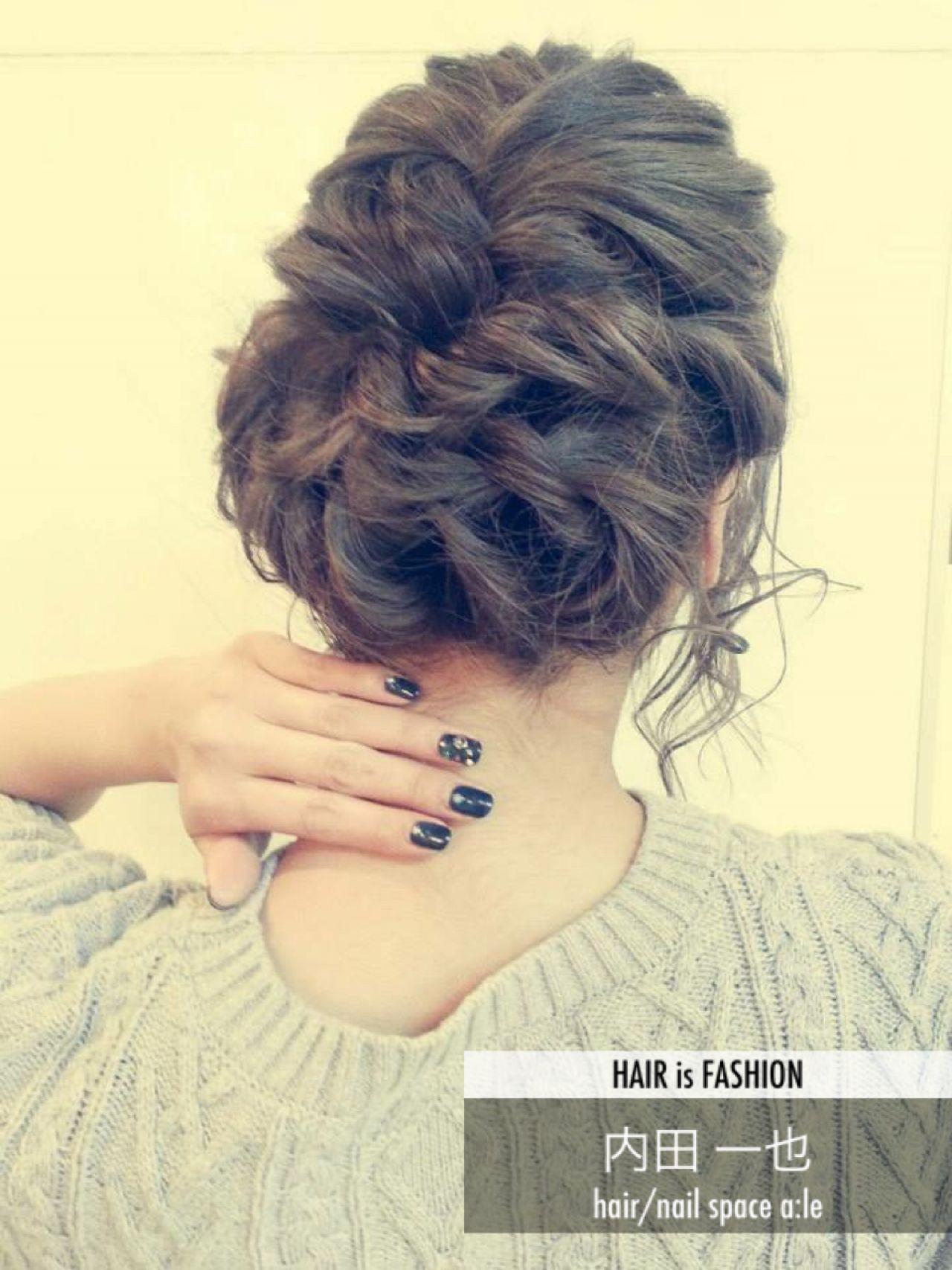 コンサバ 結婚式 編み込み 簡単ヘアアレンジ ヘアスタイルや髪型の写真・画像 | 内田 一也 / hair/nail space a:le
