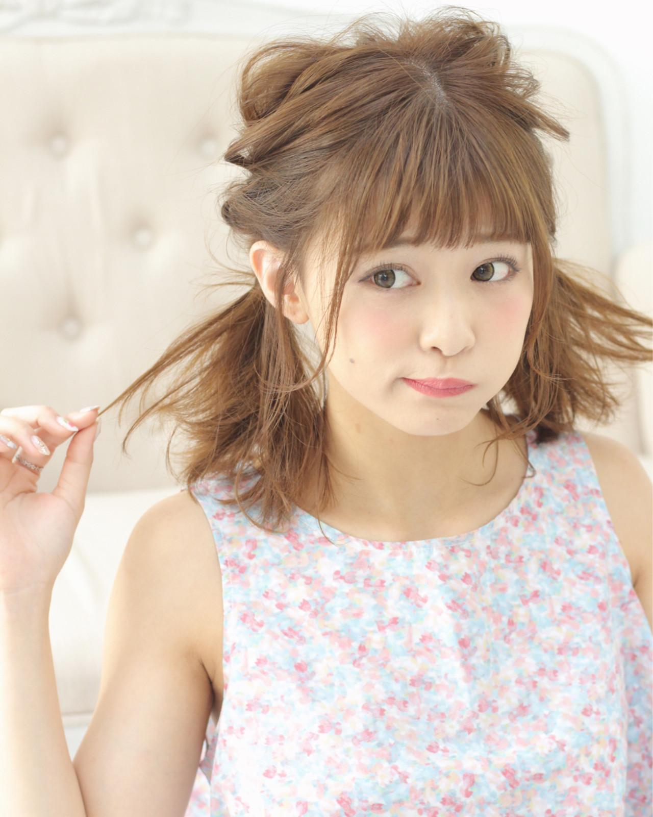 ガーリー 前髪パッツン ヘアアレンジ ミディアム ヘアスタイルや髪型の写真・画像