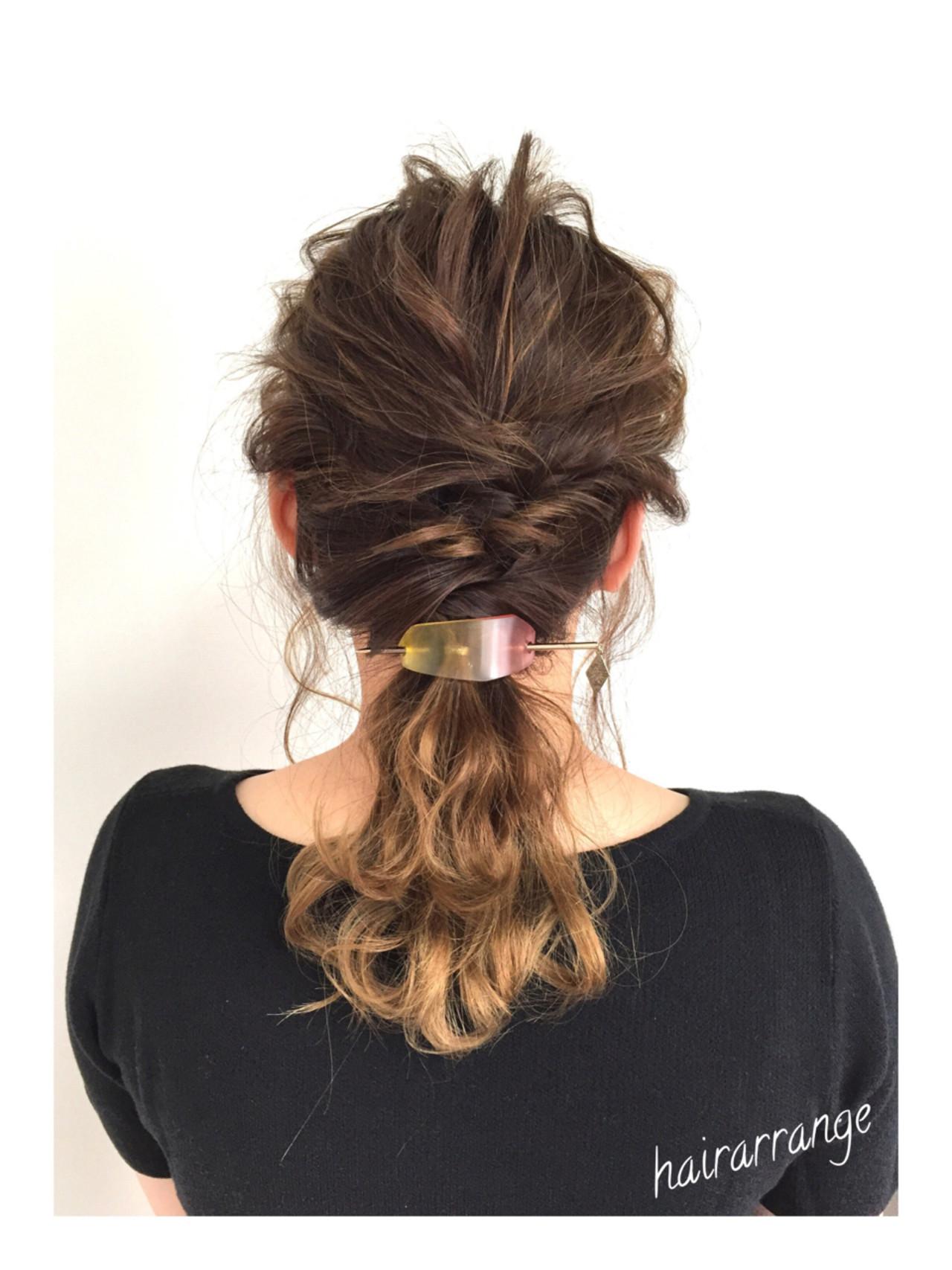 簡単ヘアアレンジ ヘアアレンジ 結婚式 セミロング ヘアスタイルや髪型の写真・画像
