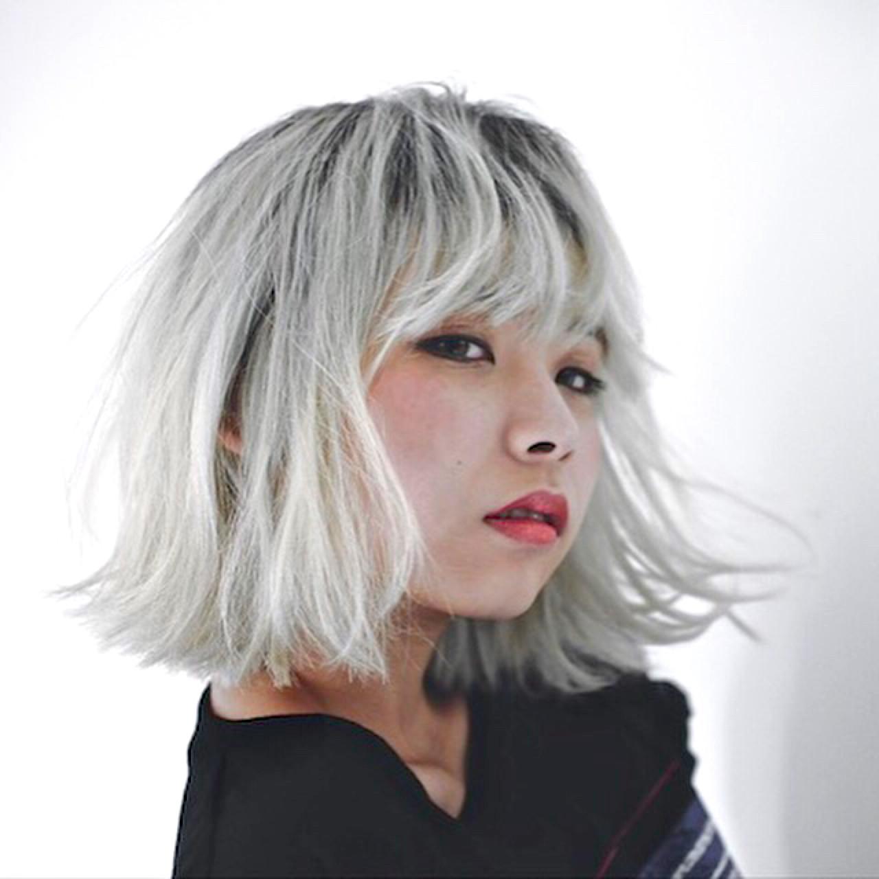 ハイトーン グラデーションカラー ガーリー ボブ ヘアスタイルや髪型の写真・画像