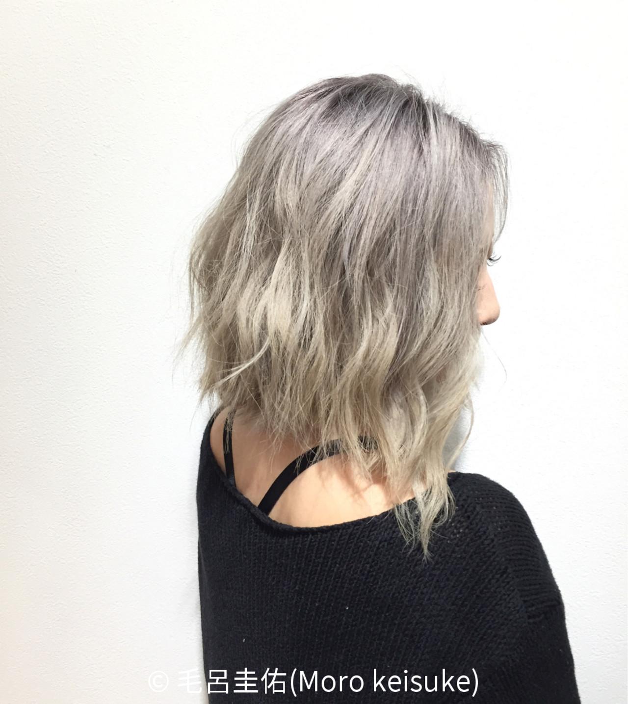 ブリーチ ストリート 透明感 パープル ヘアスタイルや髪型の写真・画像