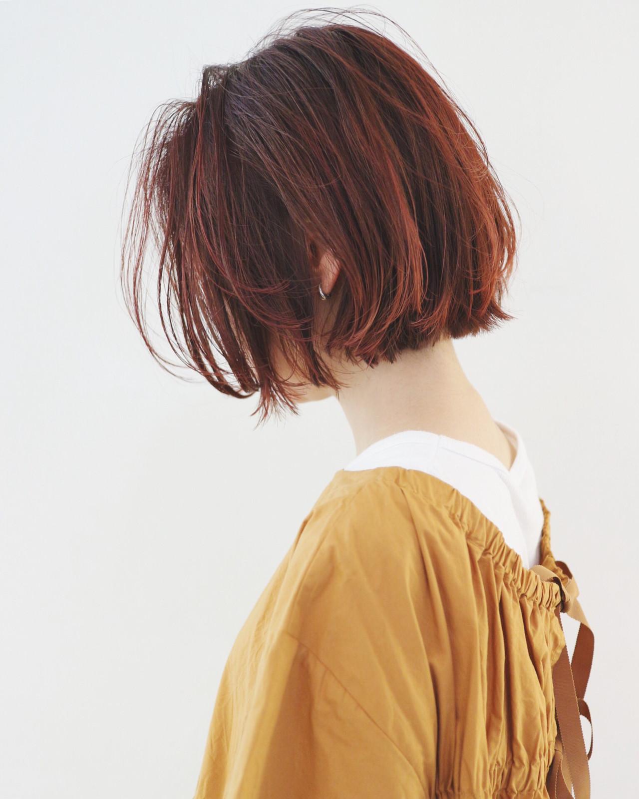 グラデーションカラー ストリート 外ハネボブ ミニボブ ヘアスタイルや髪型の写真・画像