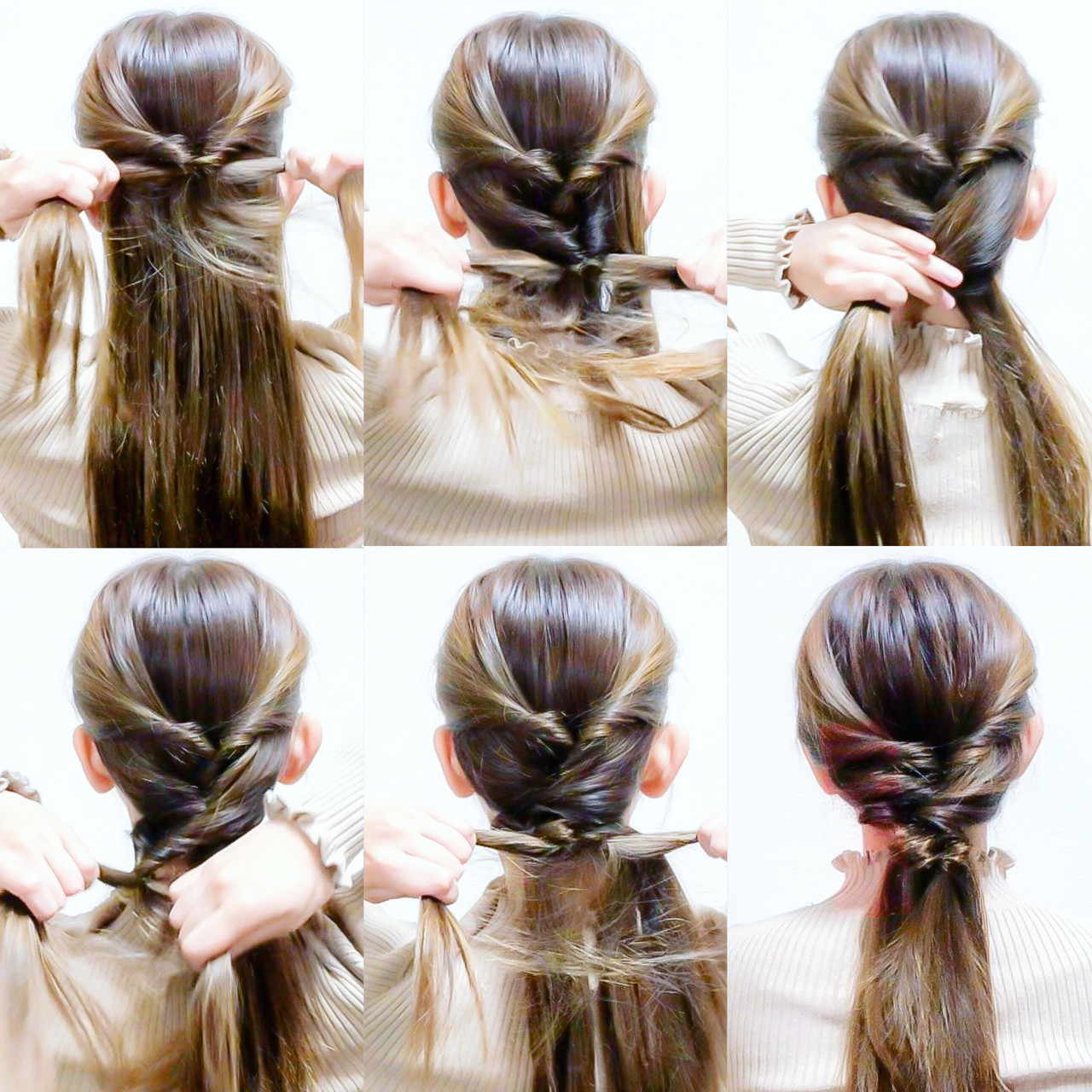 後ろを見ないですぐ出来ちゃう❤️ 簡単くるりんぱでセルフアレンジ‼️ ☆ ☆やり方☆ 1.両サイドを後ろで結びくるりんぱします‼️ 2.残りの髪を左右に割ります‼️ 3.そこから両端の毛束をすくい交差するようにそれぞれ反対側の毛束と一緒に結びくるりんぱします‼️ 4.毛先同士を結びくるりんぱしたら完成です‼️