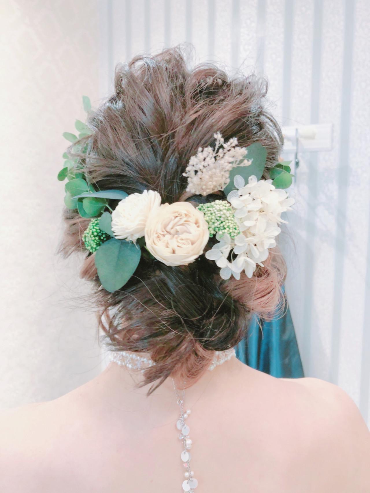 冬 結婚式 ヘアアレンジ ロング ヘアスタイルや髪型の写真・画像 | 北川友理 / unsung