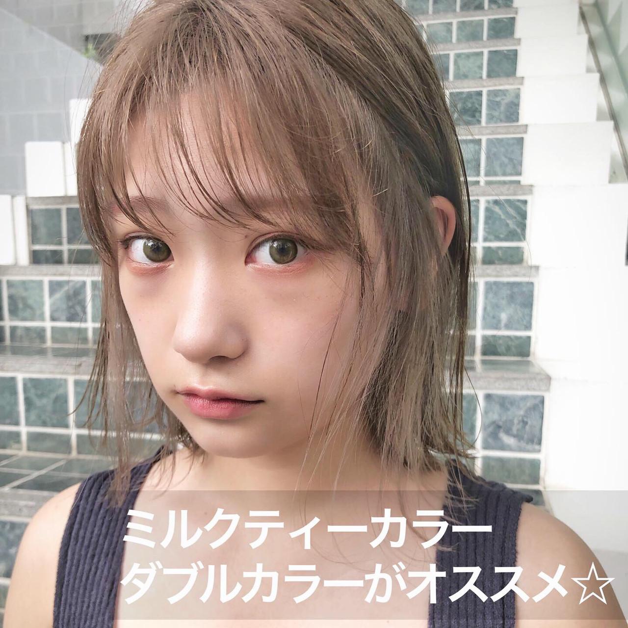 ガーリー デート 切りっぱなし 外ハネ ヘアスタイルや髪型の写真・画像   切りっぱなしボブを流行らせた人 Un ami増永 / Un ami omotesando