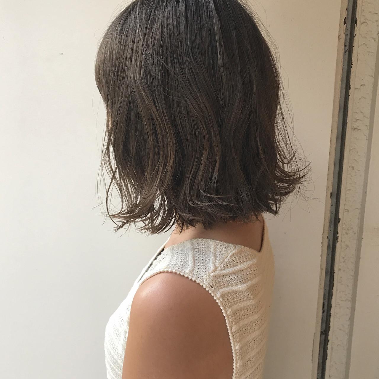 透明感 ナチュラル 切りっぱなし ロブ ヘアスタイルや髪型の写真・画像