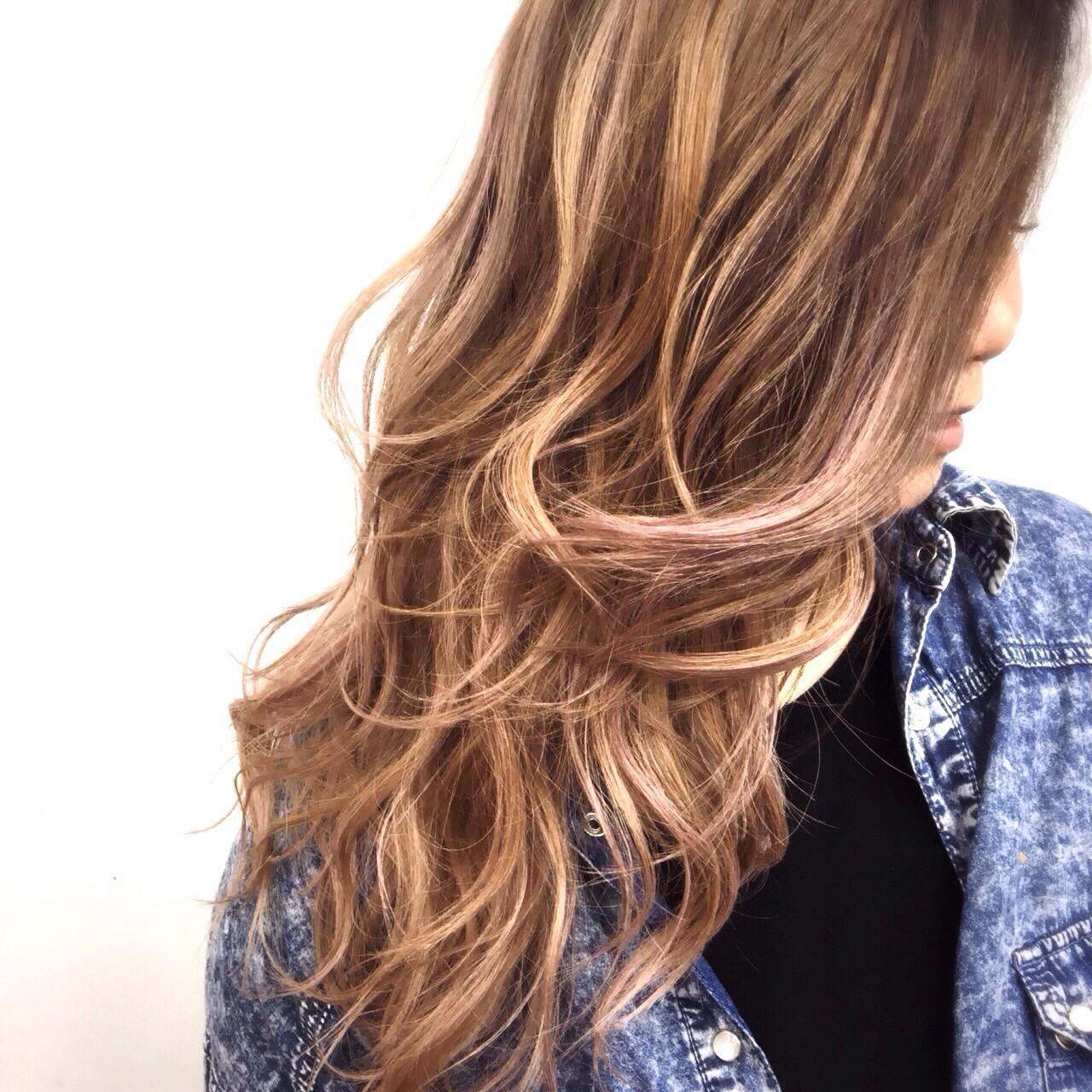 パープル ストリート ピンク ハイライト ヘアスタイルや髪型の写真・画像 | tetsuya / 電髪倶楽部 ZEST