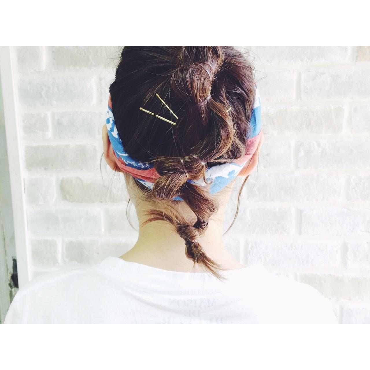 パンク ストリート バンダナ お団子 ヘアスタイルや髪型の写真・画像
