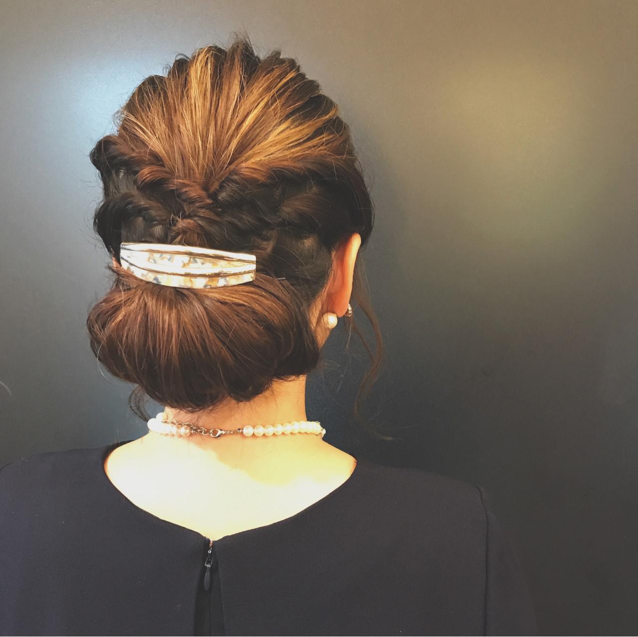 結婚式 ギブソンタック セミロング 大人かわいい ヘアスタイルや髪型の写真・画像