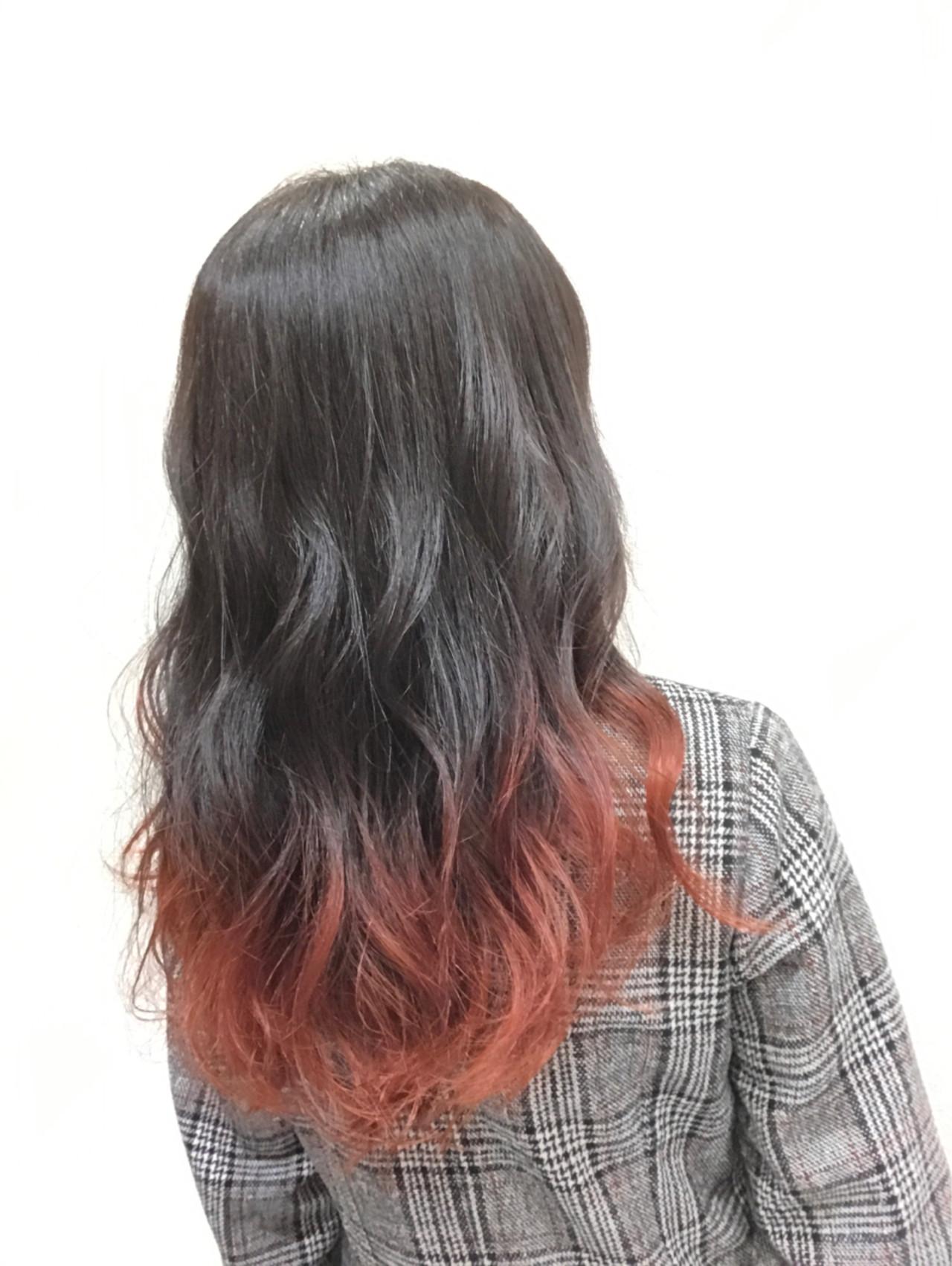 ピンク ロング フェミニン グラデーションカラー ヘアスタイルや髪型の写真・画像