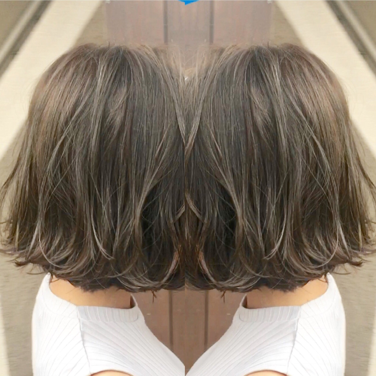 ナチュラル 切りっぱなしボブ 地毛風カラー ショートボブ ヘアスタイルや髪型の写真・画像