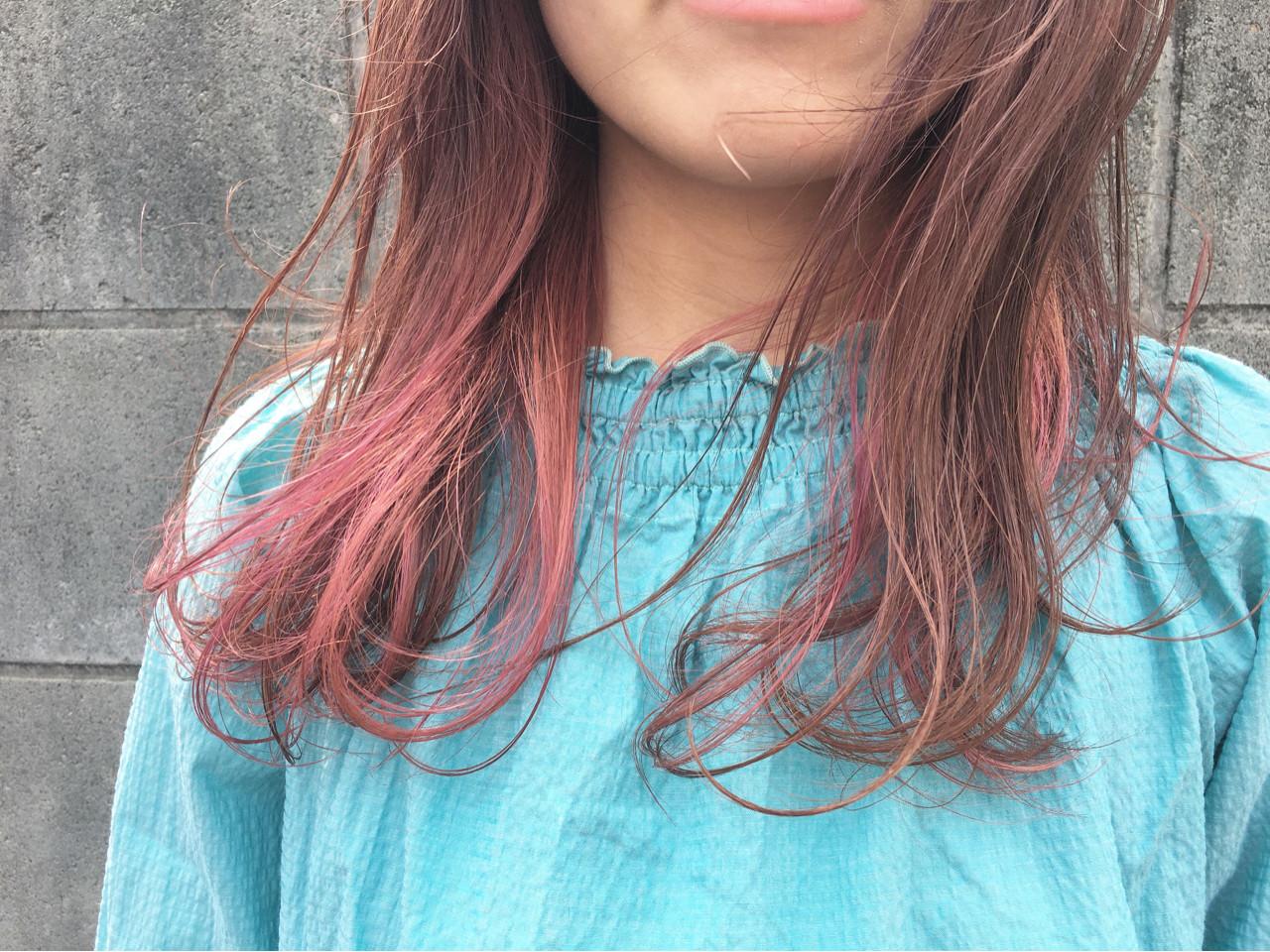 ピンク ウェーブ アンニュイ セミロング ヘアスタイルや髪型の写真・画像