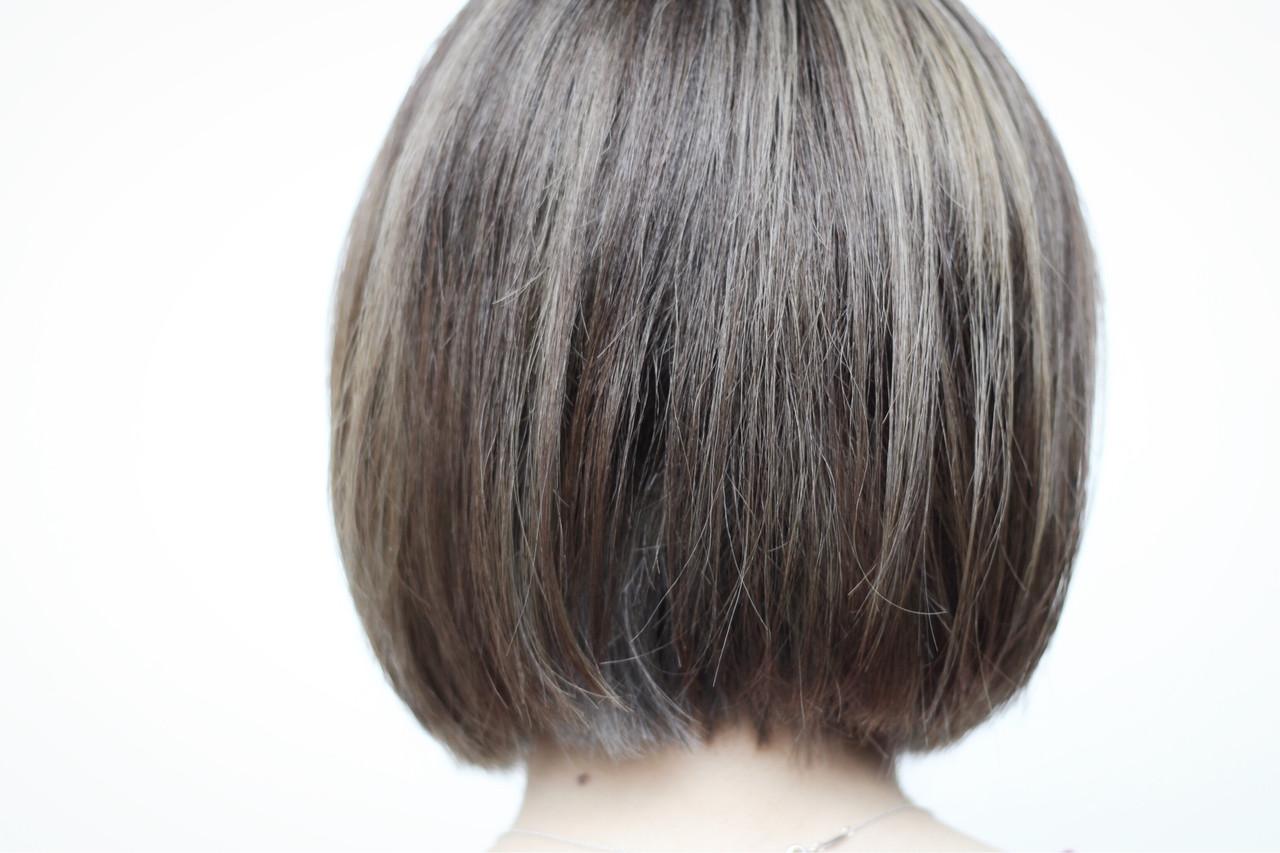 ホワイトハイライト 3Dハイライト ボブ ナチュラル ヘアスタイルや髪型の写真・画像