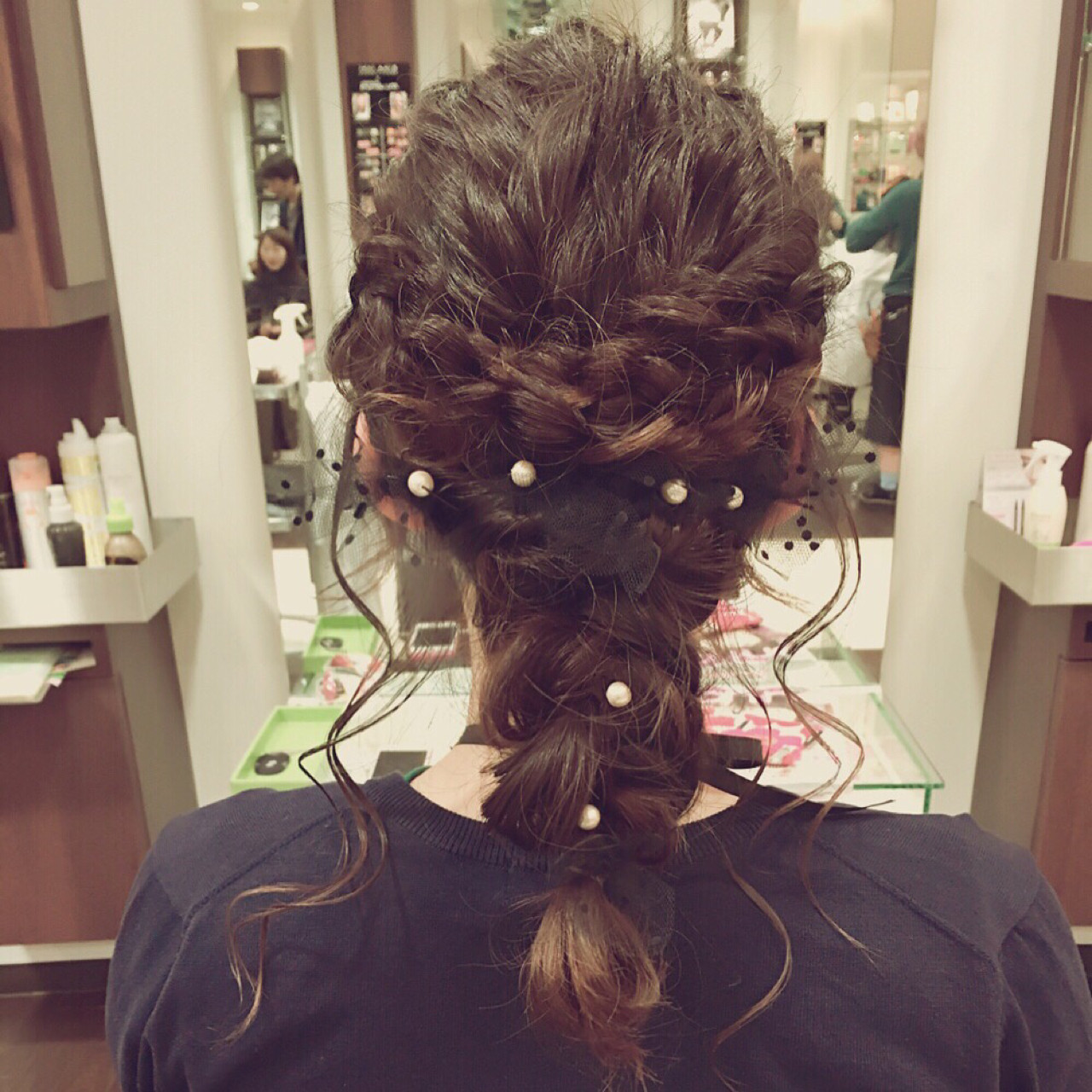 ロング 編み込み 二次会 フェミニン ヘアスタイルや髪型の写真・画像
