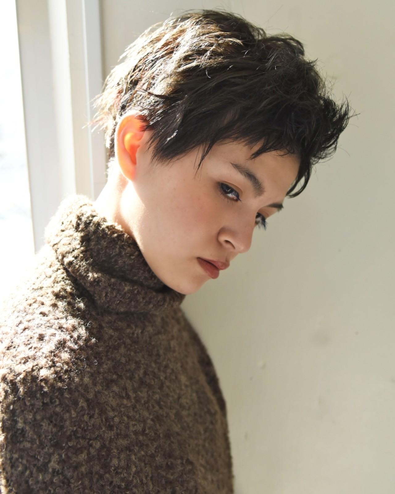 冬 ショート モード 外国人風 ヘアスタイルや髪型の写真・画像