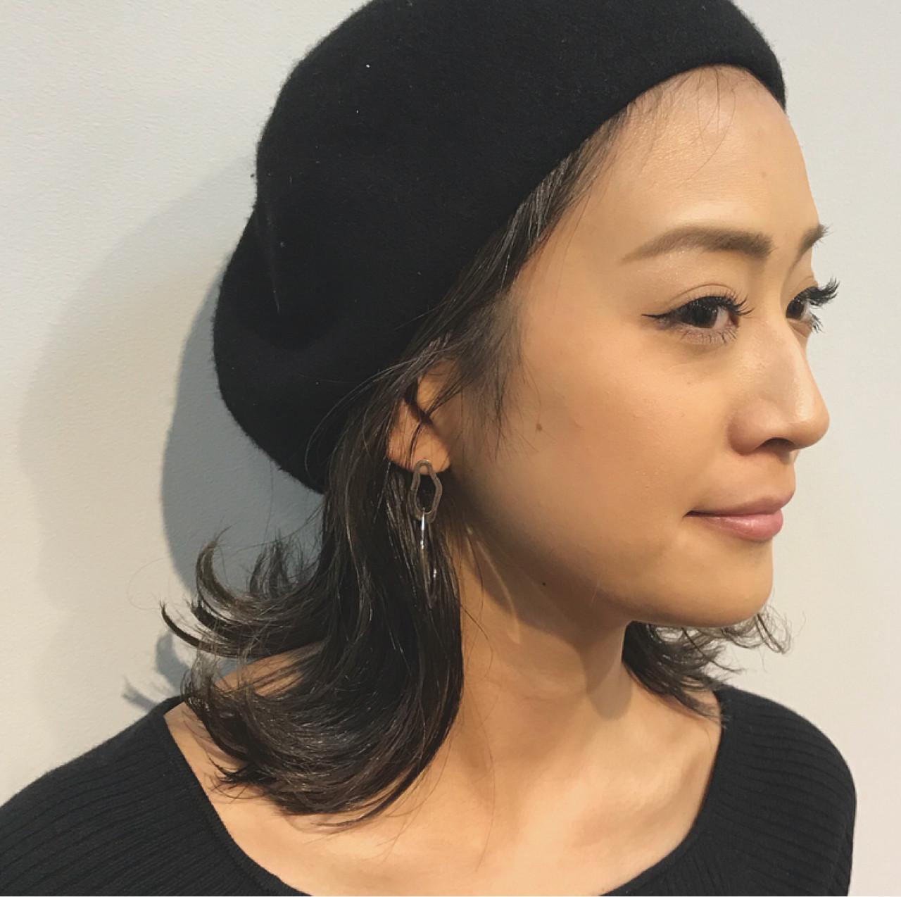ボブ 女子力 ベレー帽 ウェットヘア ヘアスタイルや髪型の写真・画像
