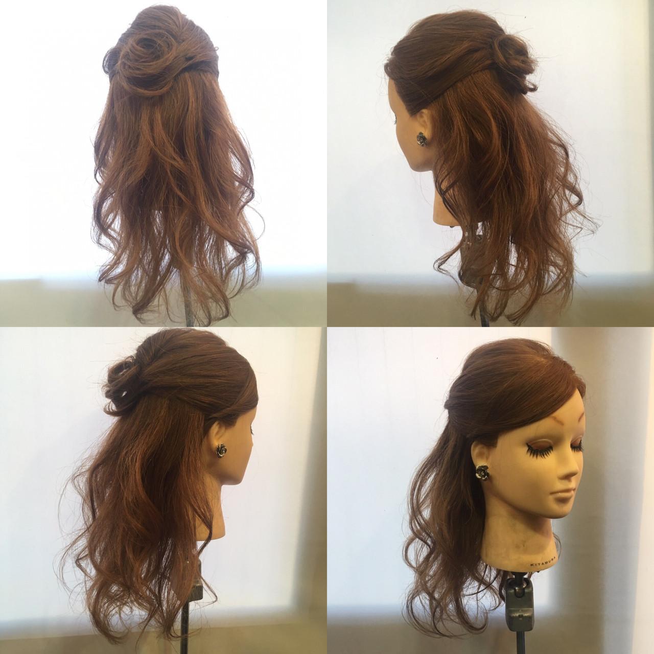 ハーフアップ セミロング エレガント ブライダル ヘアスタイルや髪型の写真・画像