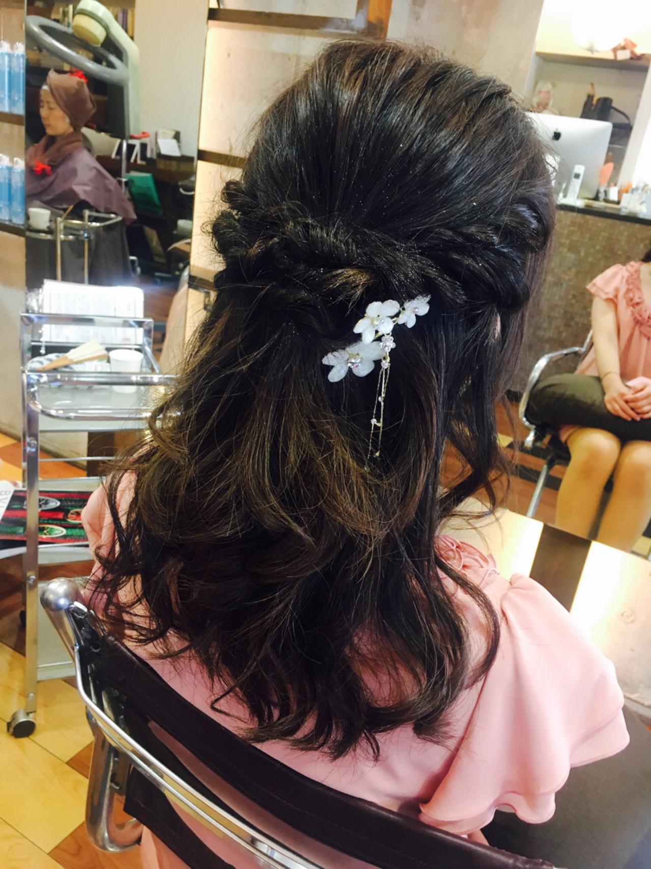 女子会 ハーフアップ ロング 結婚式 ヘアスタイルや髪型の写真・画像