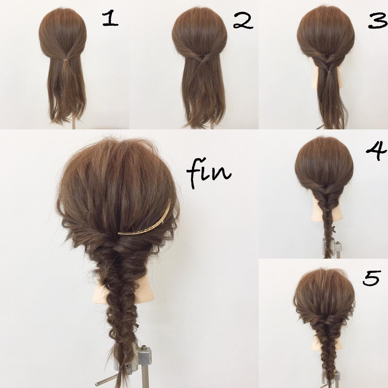 連続くるりんぱアレンジ!  1、サイドの髪を結びます! 2、その髪をくるりんぱします! 3、その下をくるりんぱします! 4、後ろに来る髪を下までくるりんぱします! 5、全体的に崩します! ヘアアクセつけて完成です!!
