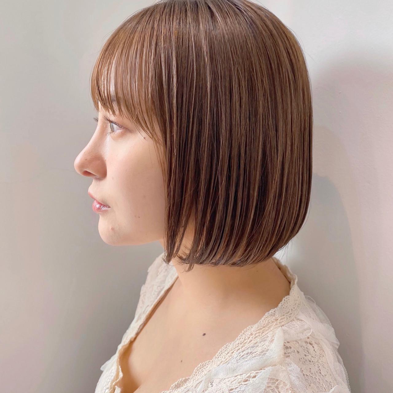 インナーカラー ショートボブ ミニボブ ボブ ヘアスタイルや髪型の写真・画像 | ウキタ / GOTODAYSHAiRESALON