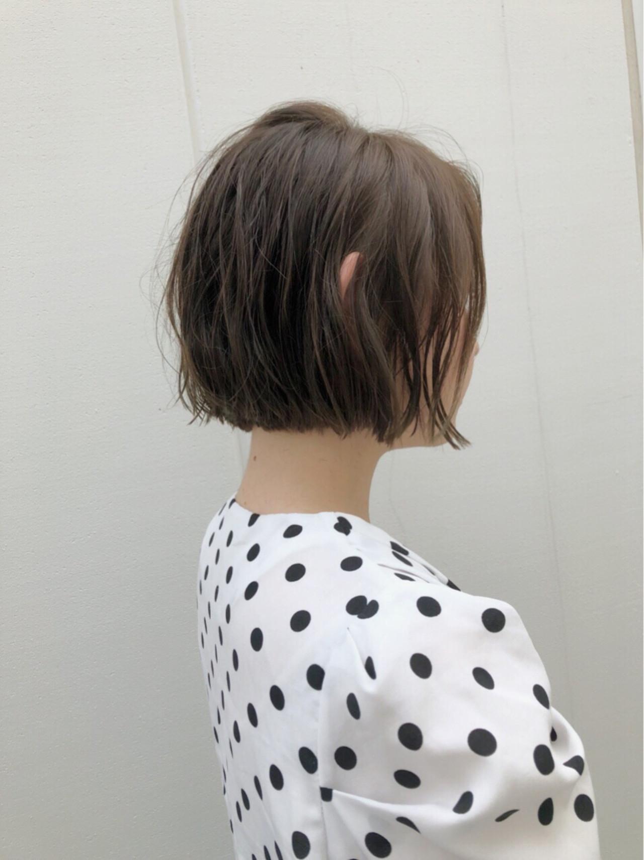 パーマ ショートボブ ボブ 切りっぱなし ヘアスタイルや髪型の写真・画像