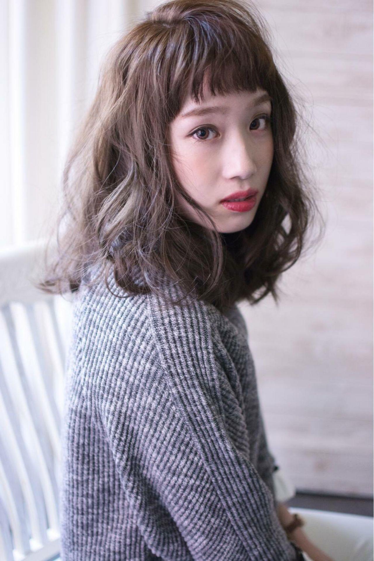 大人かわいい グレージュ シースルーバング ナチュラル ヘアスタイルや髪型の写真・画像 | 田渕 英和/vicushair / vicushair