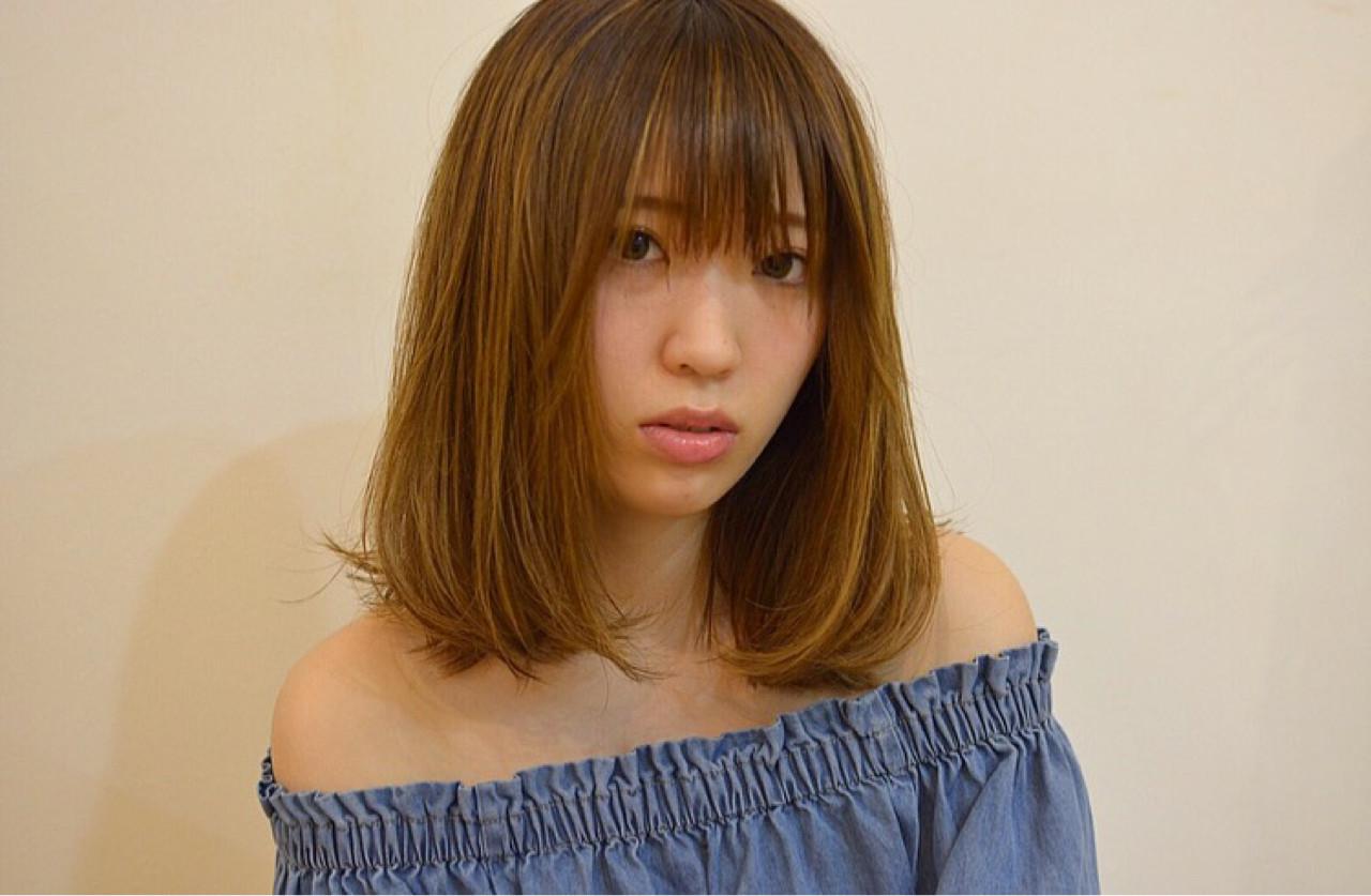 ミディアム フェミニン イルミナカラー 女子会 ヘアスタイルや髪型の写真・画像 | 宮本英里香 /