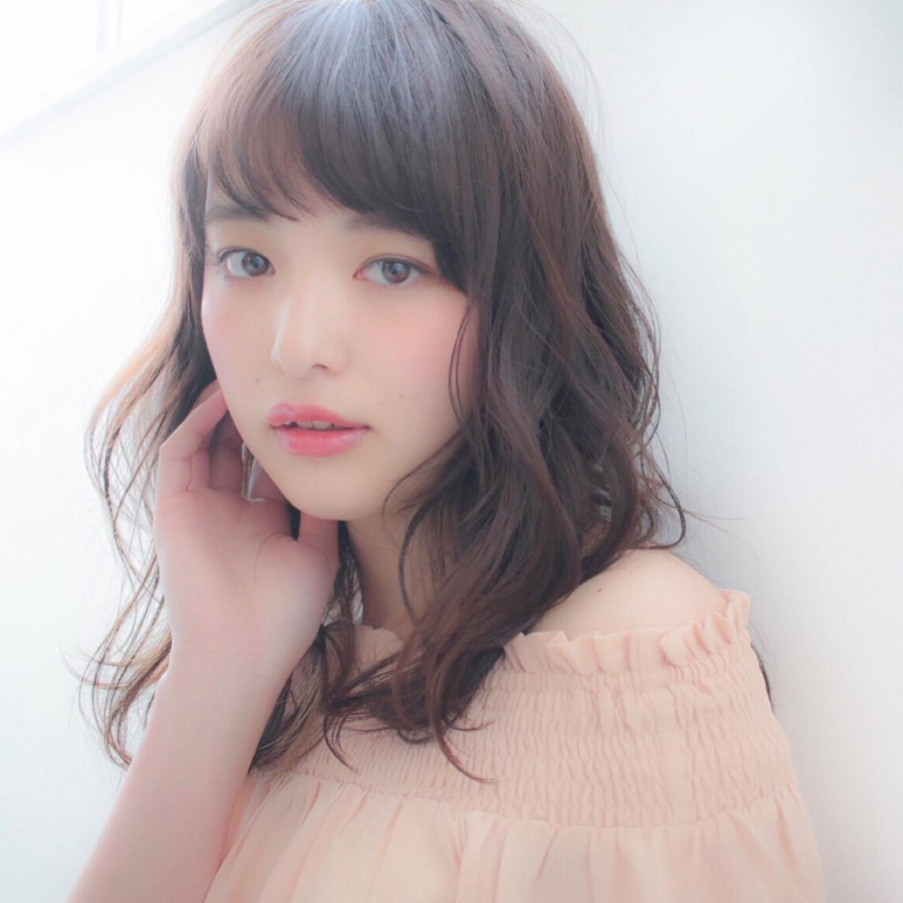 大人女子 ミディアム 黒髪 ミルクティー ヘアスタイルや髪型の写真・画像